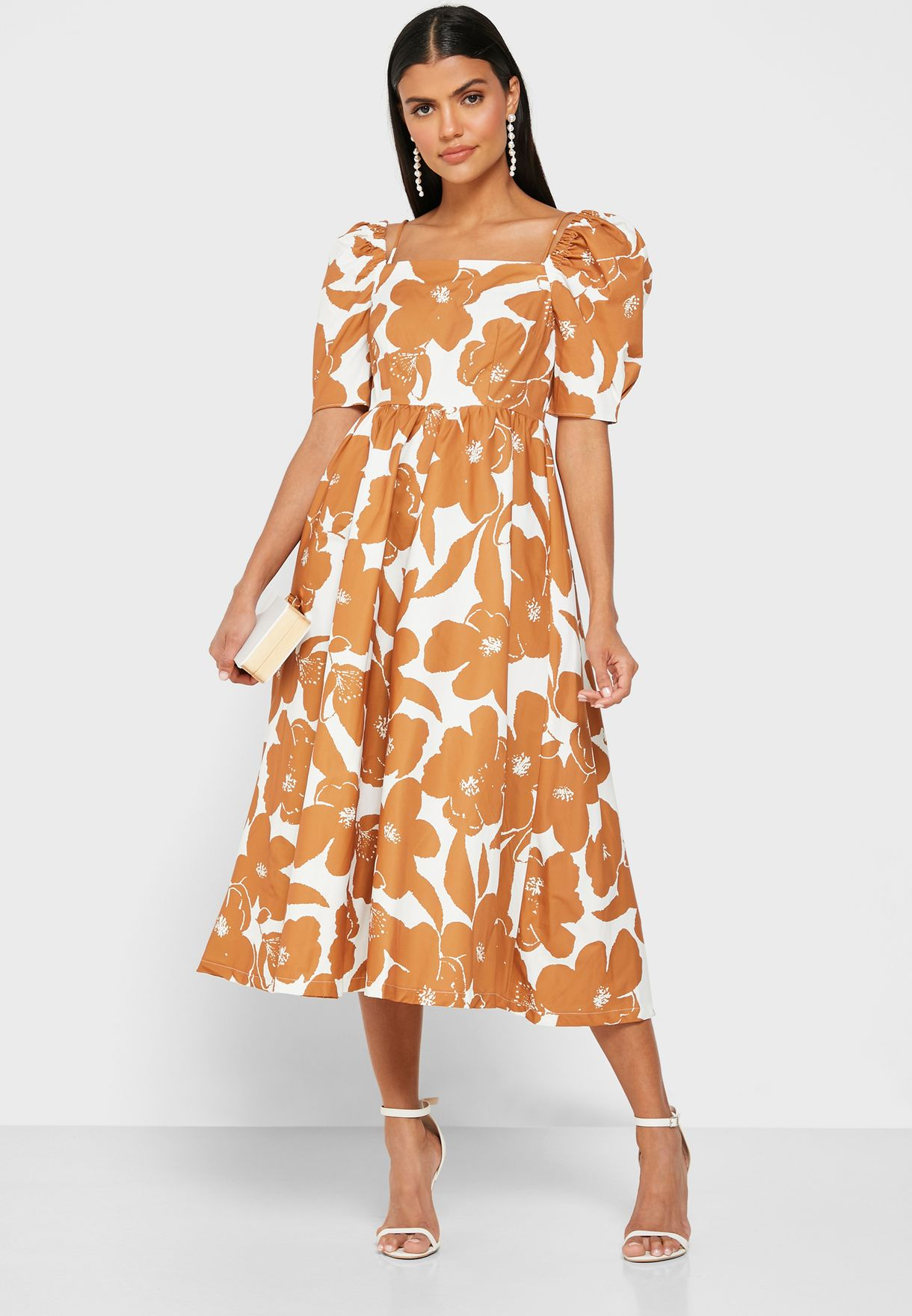 Floral Print Puffed Sleeve Midi Dress