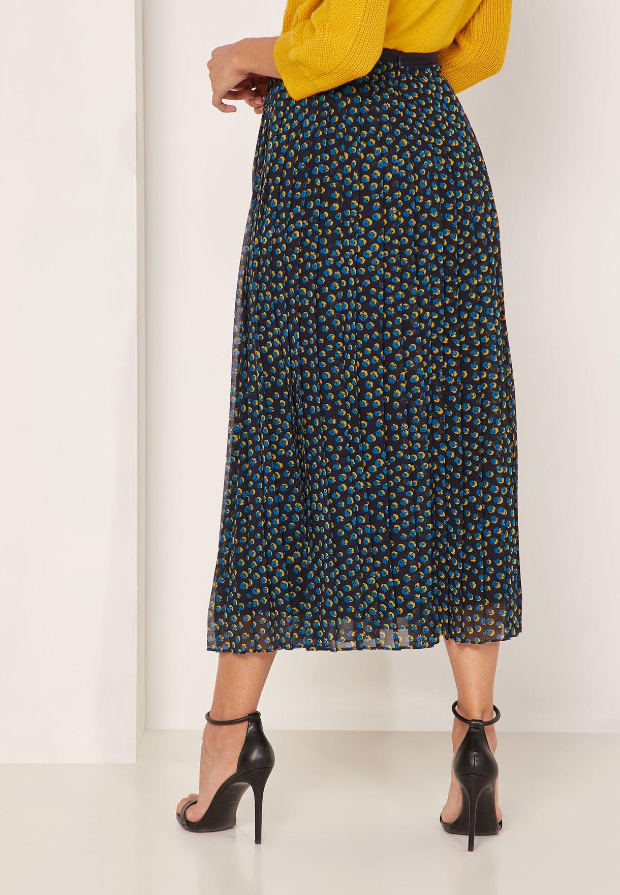 High Waist Pleated Printed Skirt
