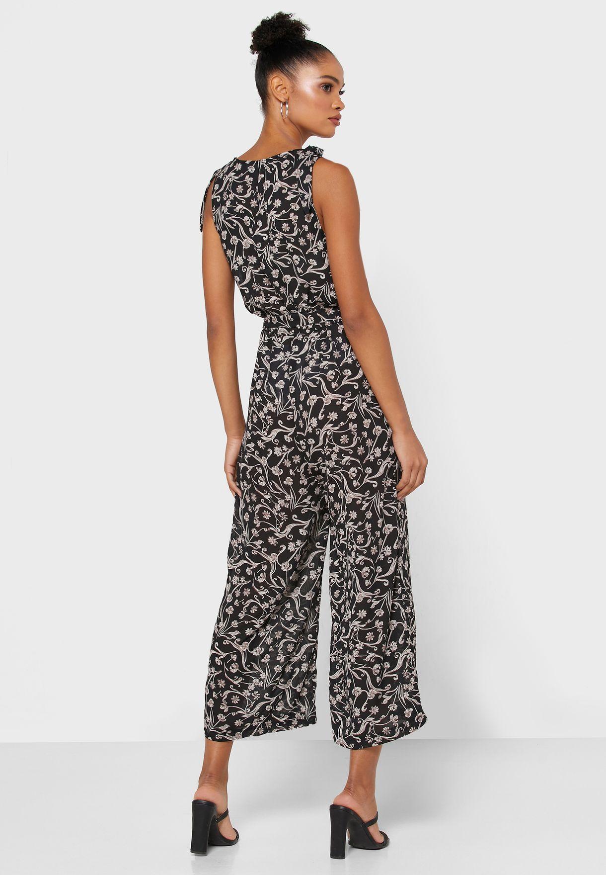 Floral Print Wrap Culotte Jumpsuit