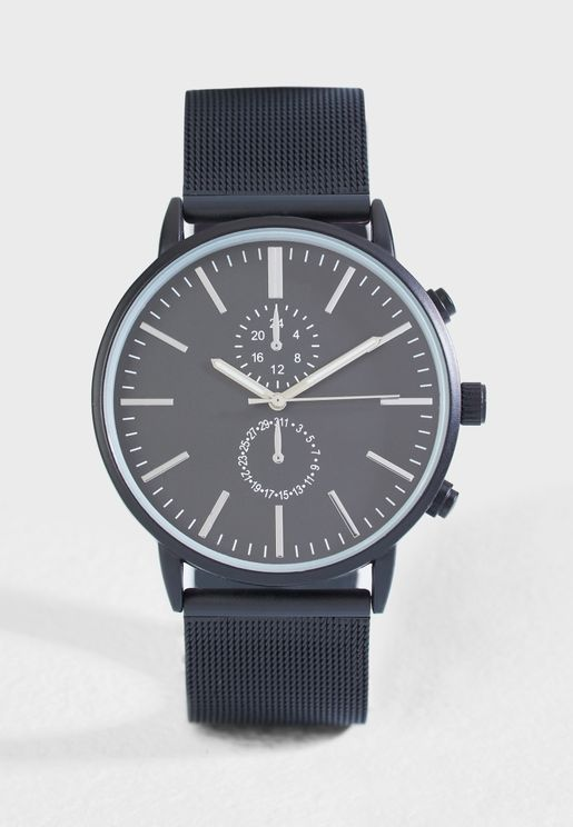 Matt Mesh Strap Analogue Watch