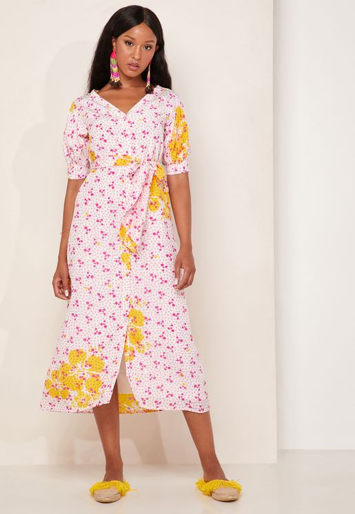 Kaleo Printed Tie Waist Dress