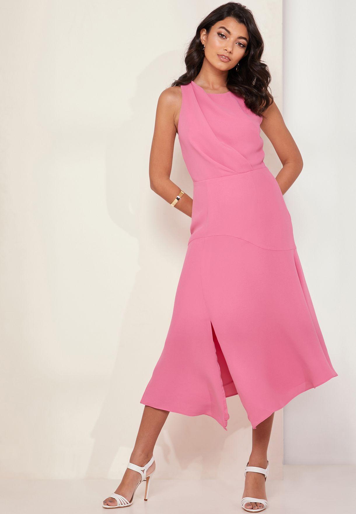 cf6ccd1ed8f Shop Reiss pink Cheyenne Asymmetric Pleated Detail Skater Dress ...