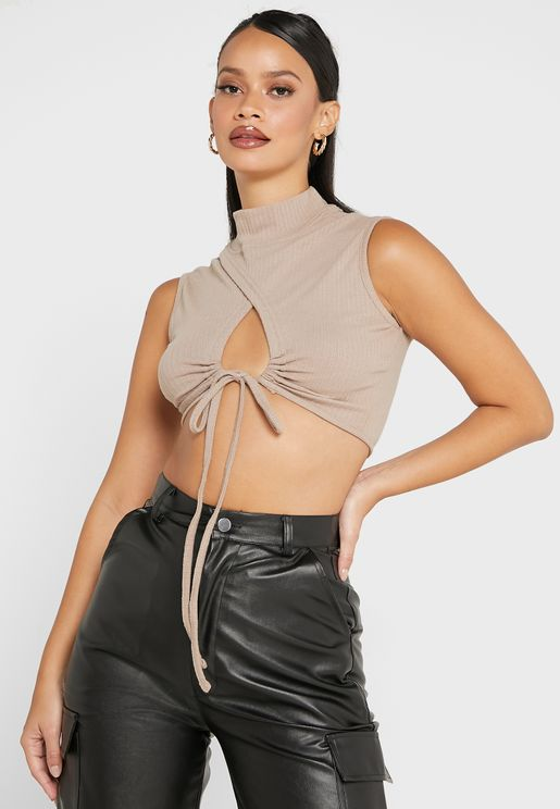 Ruched Detail Wrap Top