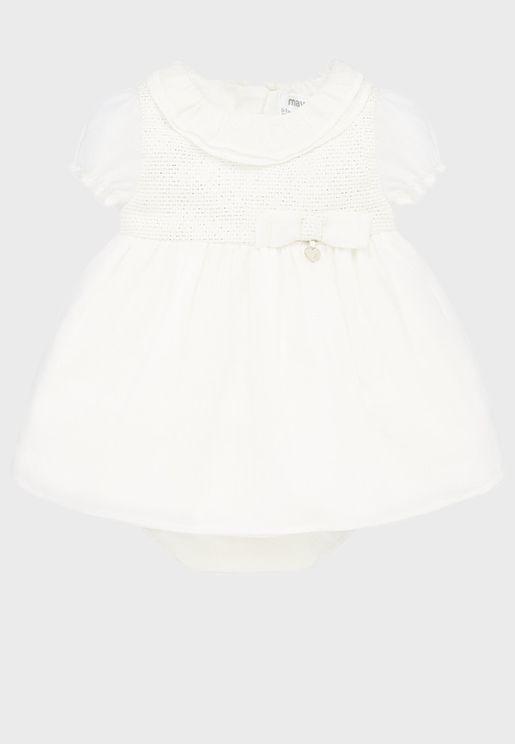 Infant Ruffle Neck Dress + Knicker Set
