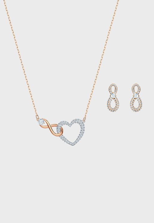 Infinity Pendant Necklace+Earrings Set