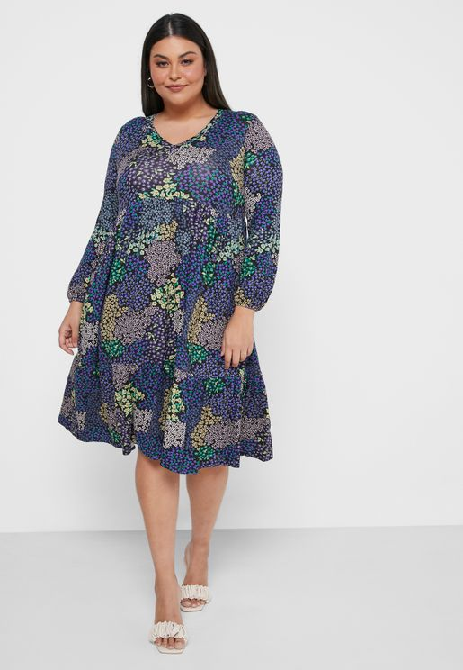 Printed Jersey Tiered Dress