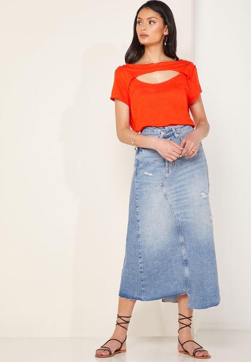 تنورة جينز بنمط ممزق