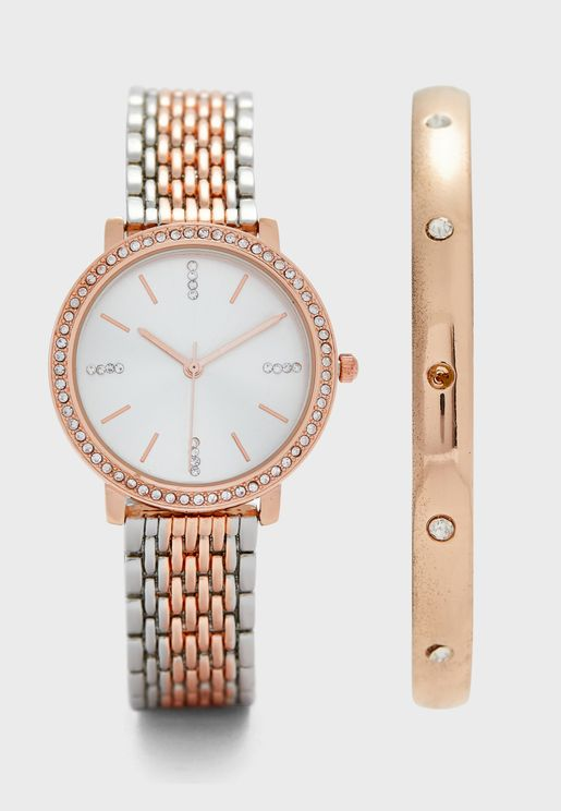 Two Tone Watch and Bracelet Gift Set