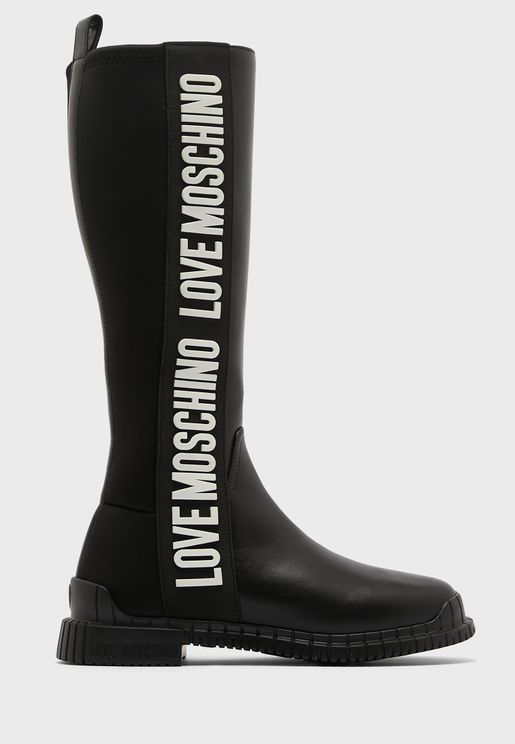 Side Tape Low Heel Boots