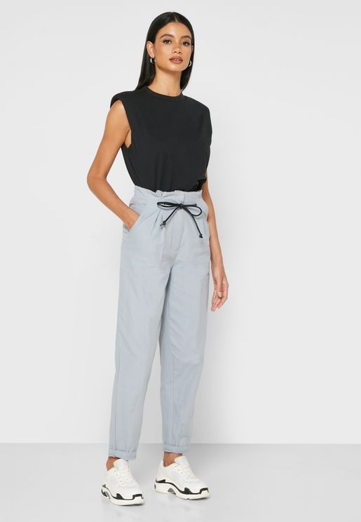 Drawstring Tailored Mom Pants