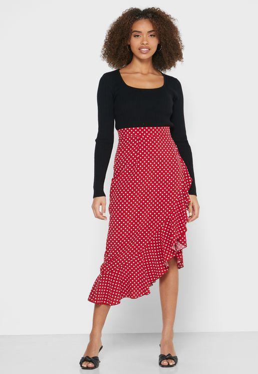 Polka Dot Ruffle Detail Maxi Skirt