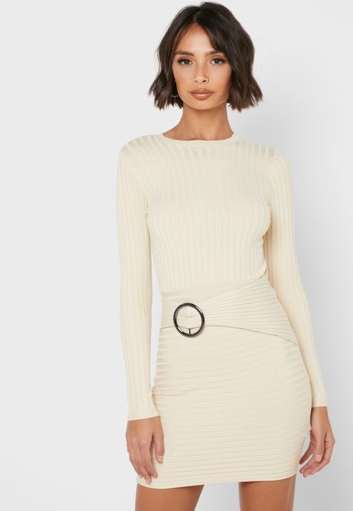 Ribbed Belted Bodycon Dress