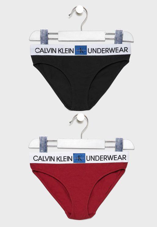 Teen 2 Pack Logo Bikini Bottom