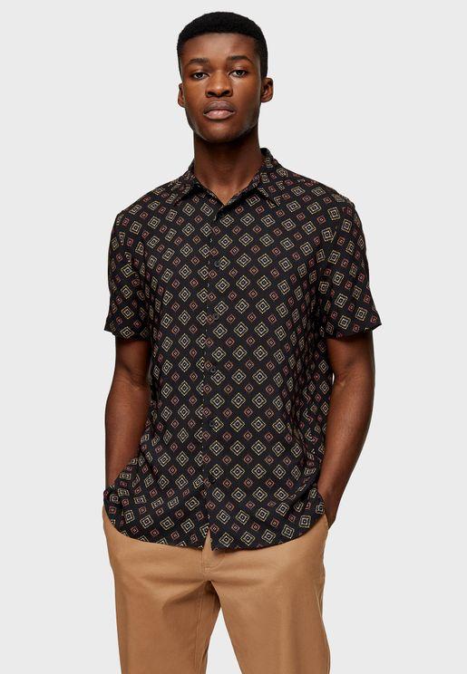 Tile Print Slim Fit Shirt