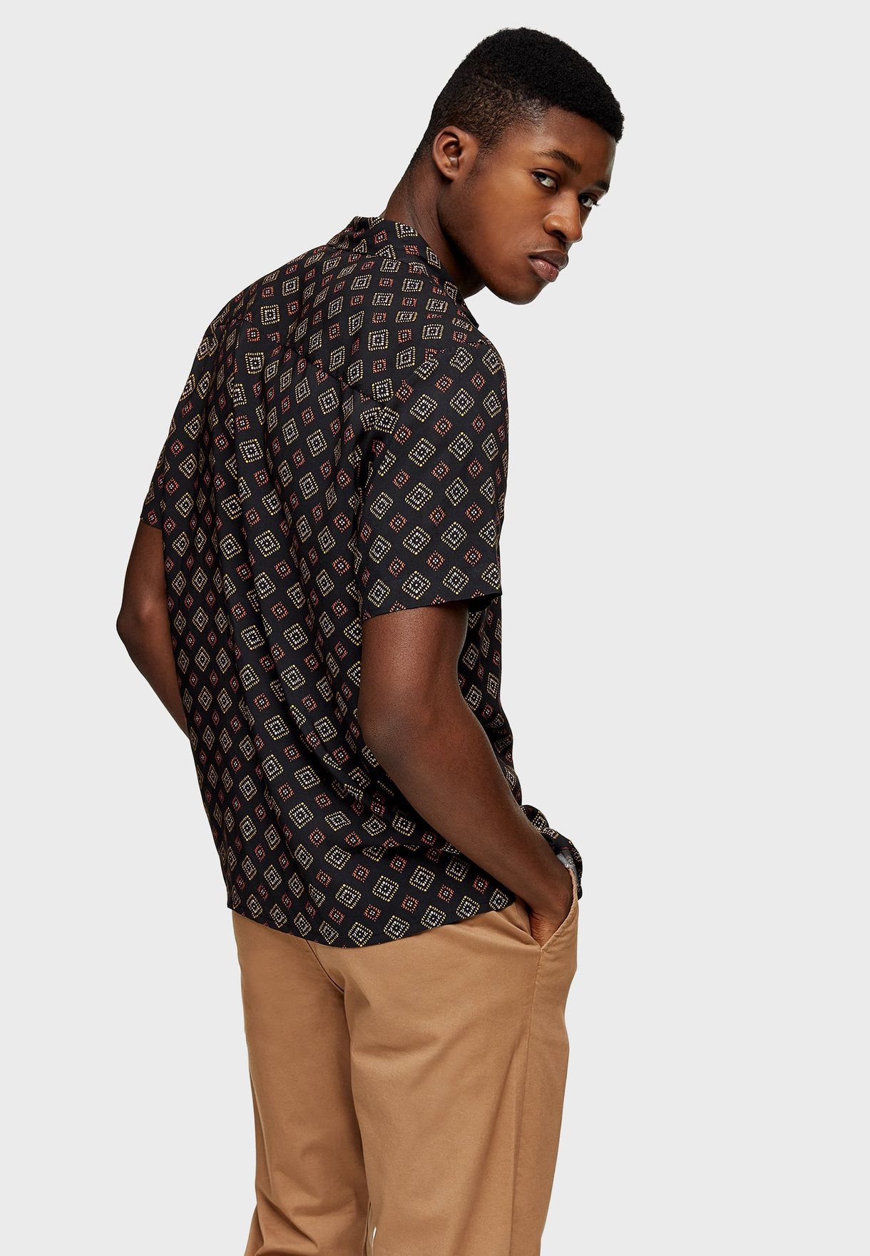Tile Print Slim Fit Shirt