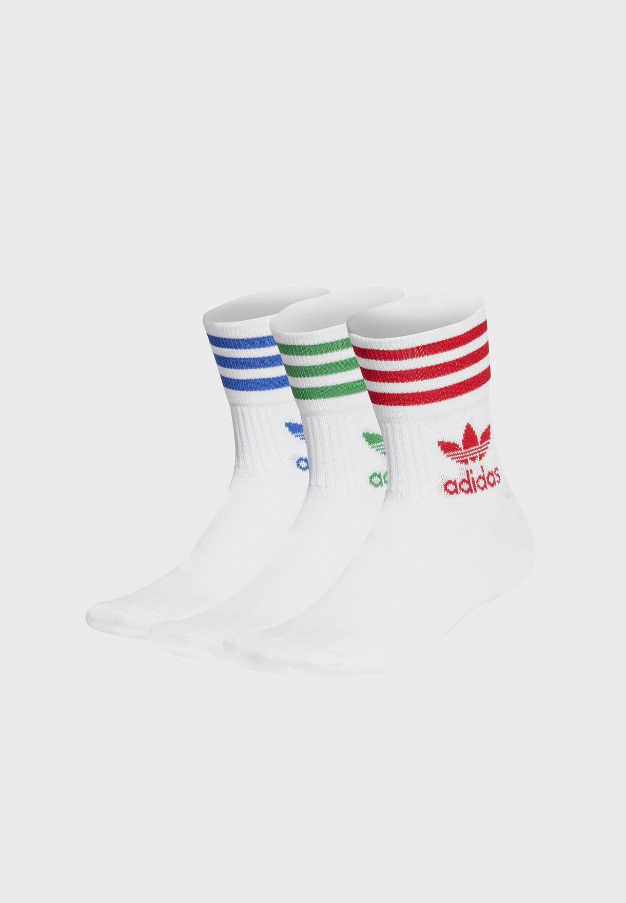 3 Pack Trefoil 3 Stripe Crew Socks