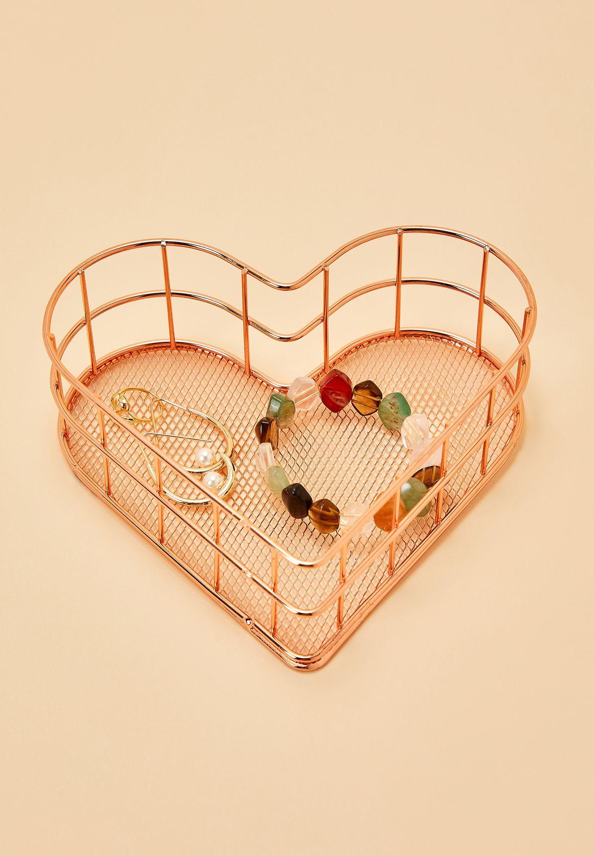 Rose Gold Heart Organiser