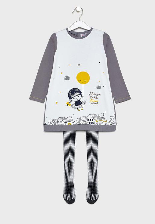 طقم اطفال (فستان + كيلون)