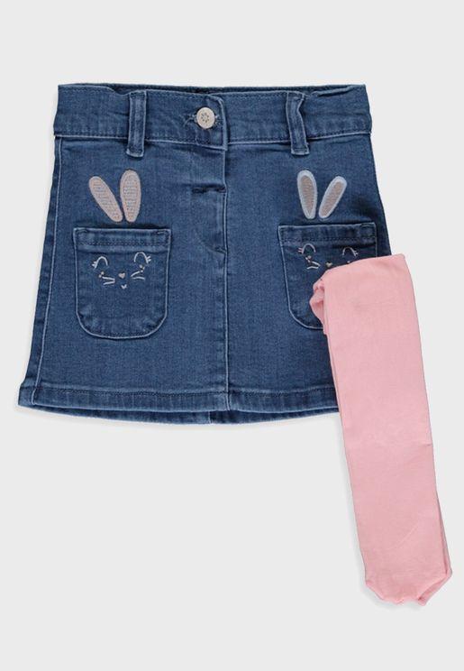 Infant Denim Skirt  + Pantyhose