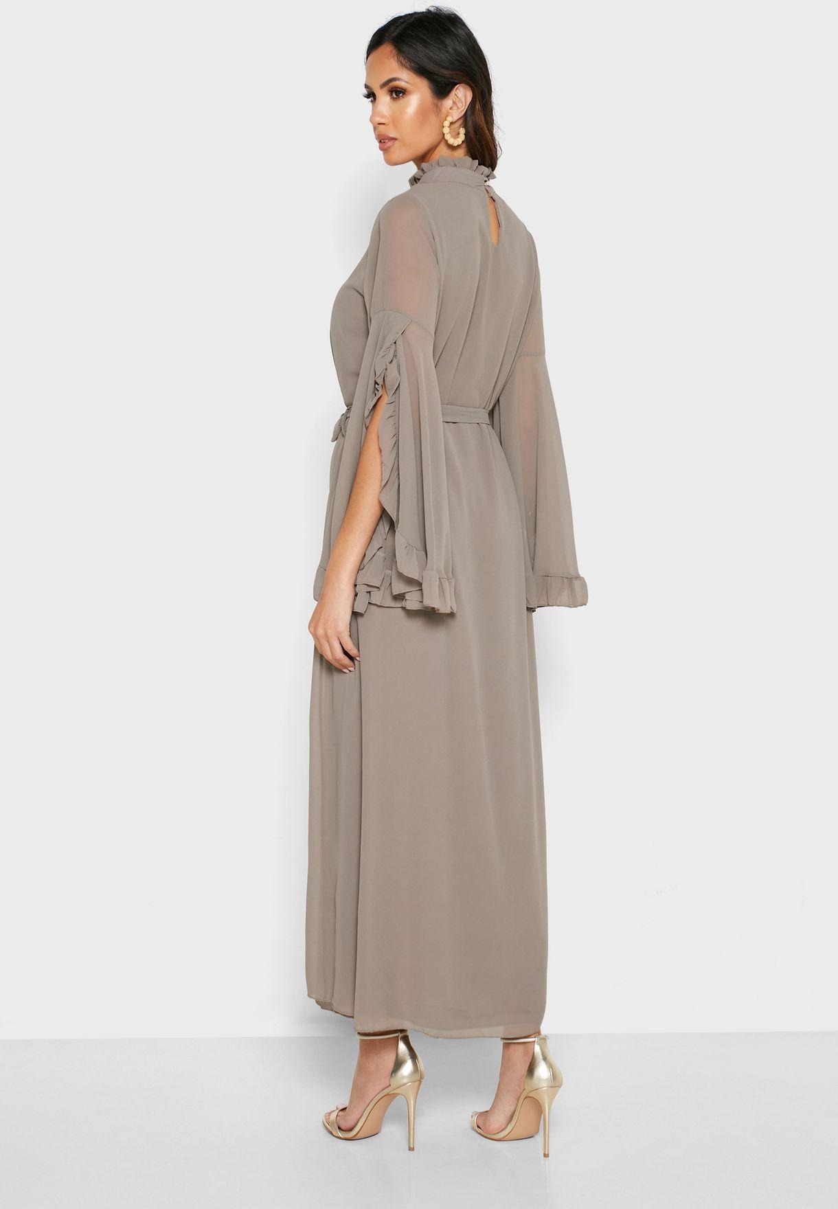 High Neck Tie Waist Ruffle Detail Dress