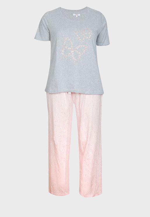 Butterfly Foil Print Pyjama Set