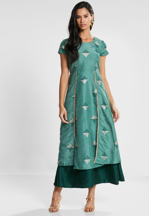 Green Embellished Double Slit Tunic with Attached Skirt
