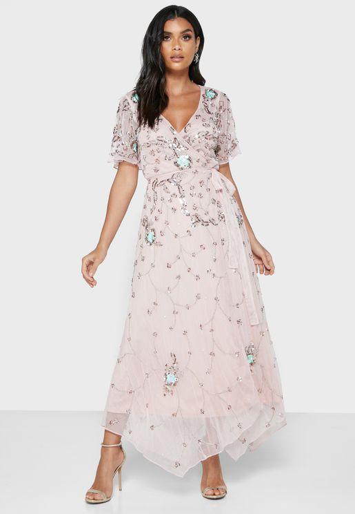 Embellished Angel Sleeve Dress
