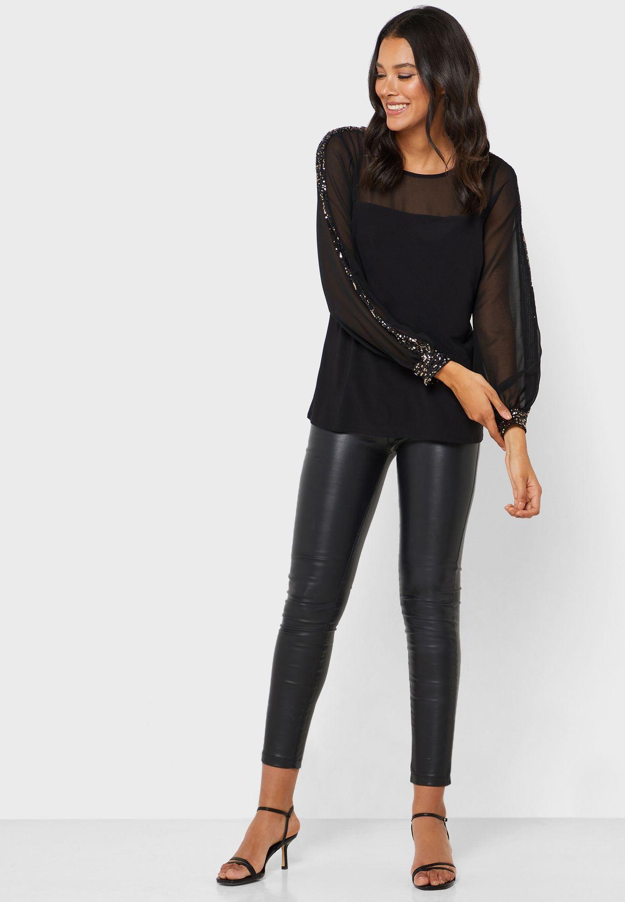 Sheer Sequin Sleeve Top