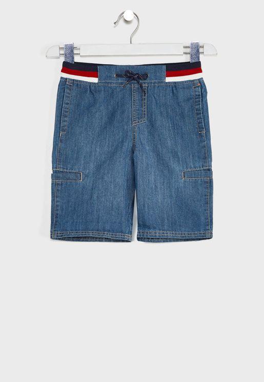 Youth Rolled Hem Denim Shorts