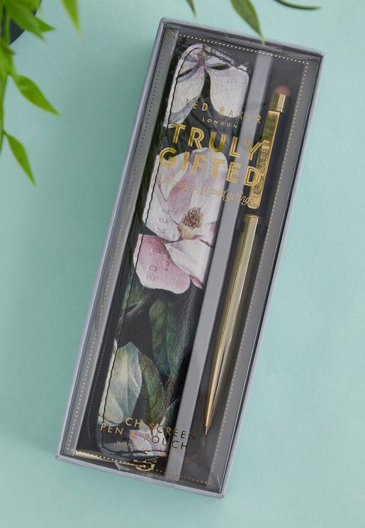 Floral Touch Screen Pen & Pouch
