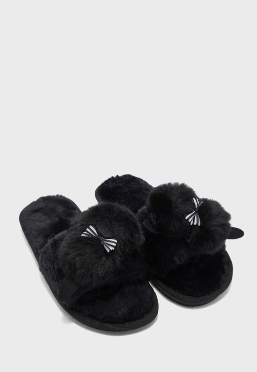 Pom Pom Bow Open Toe Bedroom Slippers
