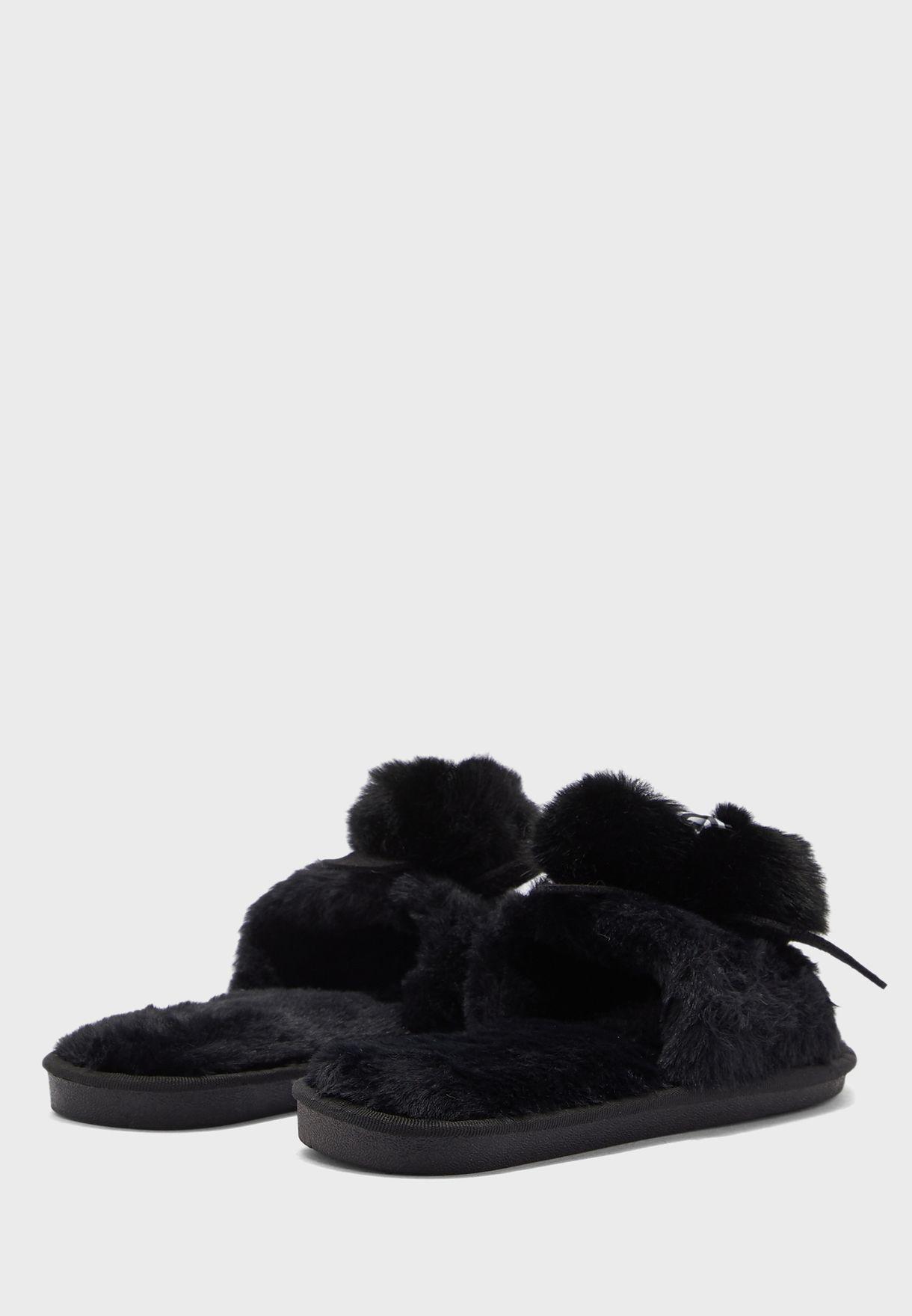 Pom Pom Bow Open Toe Bedroom Slippers