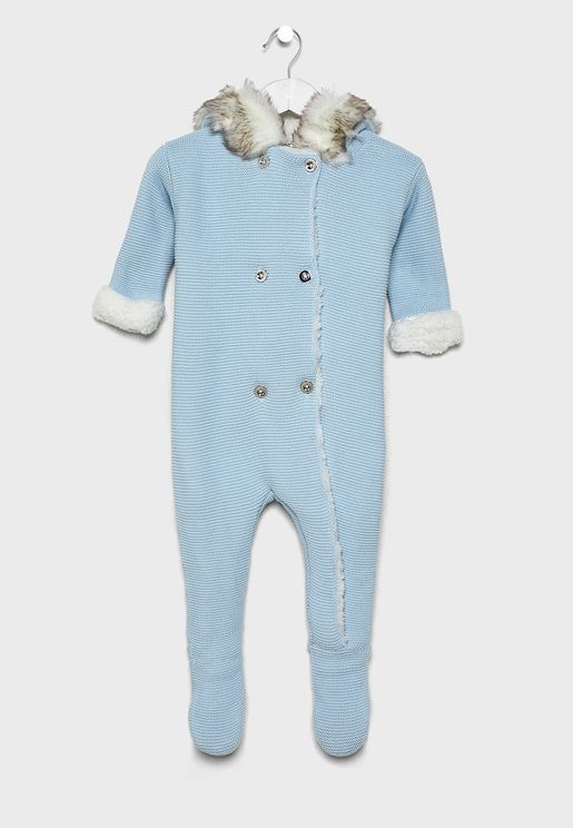 Infant Knitted Hooded Romper