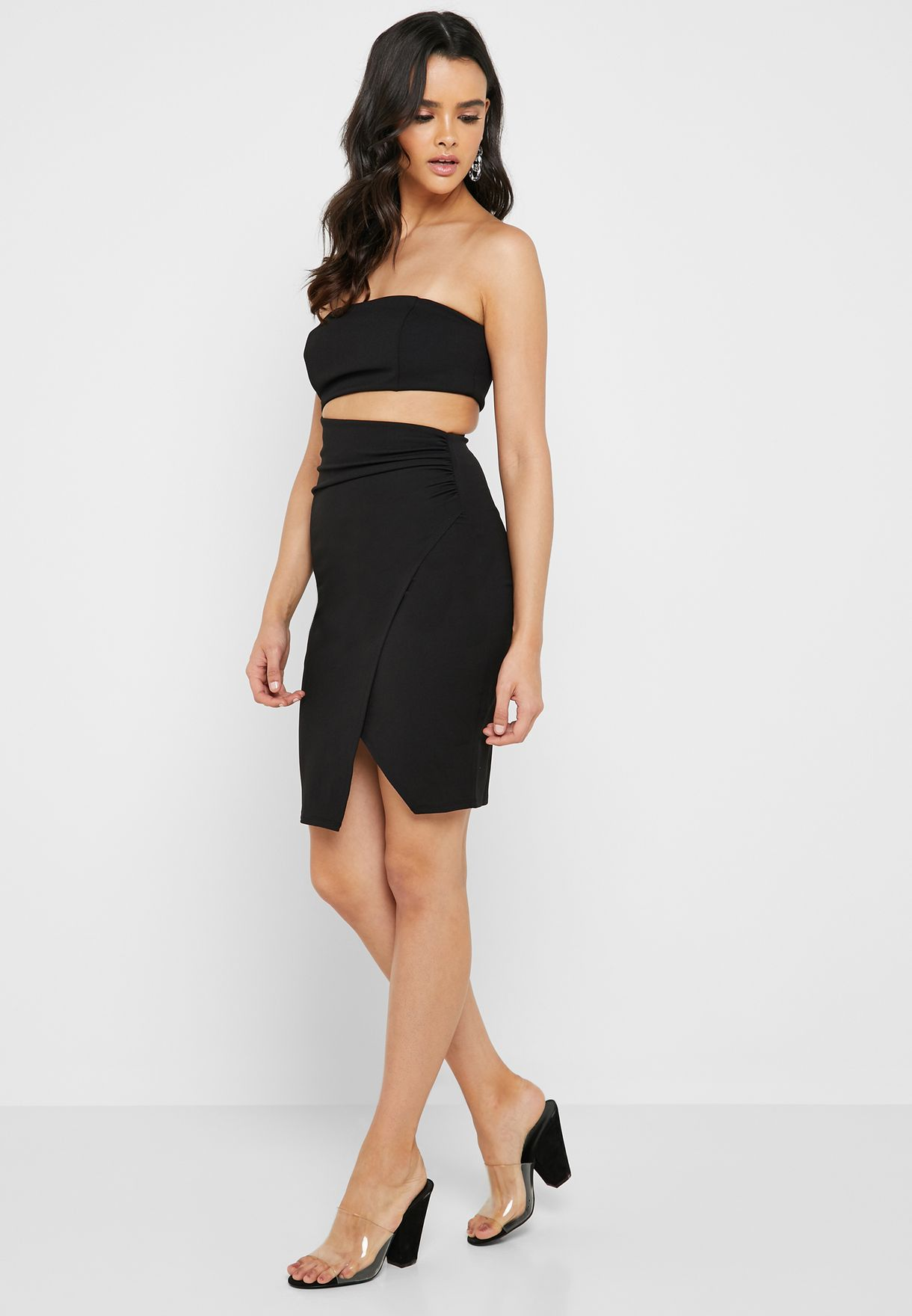42f23319ac Shop Forever 21 black Bandeau Cut Out Wrap Dress 344303 for Women in ...