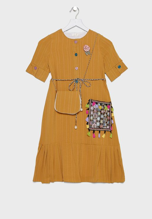 Kids Embroidered Dress With Shopper