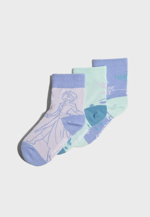 Kids 3 Pack Frozen Crew Socks