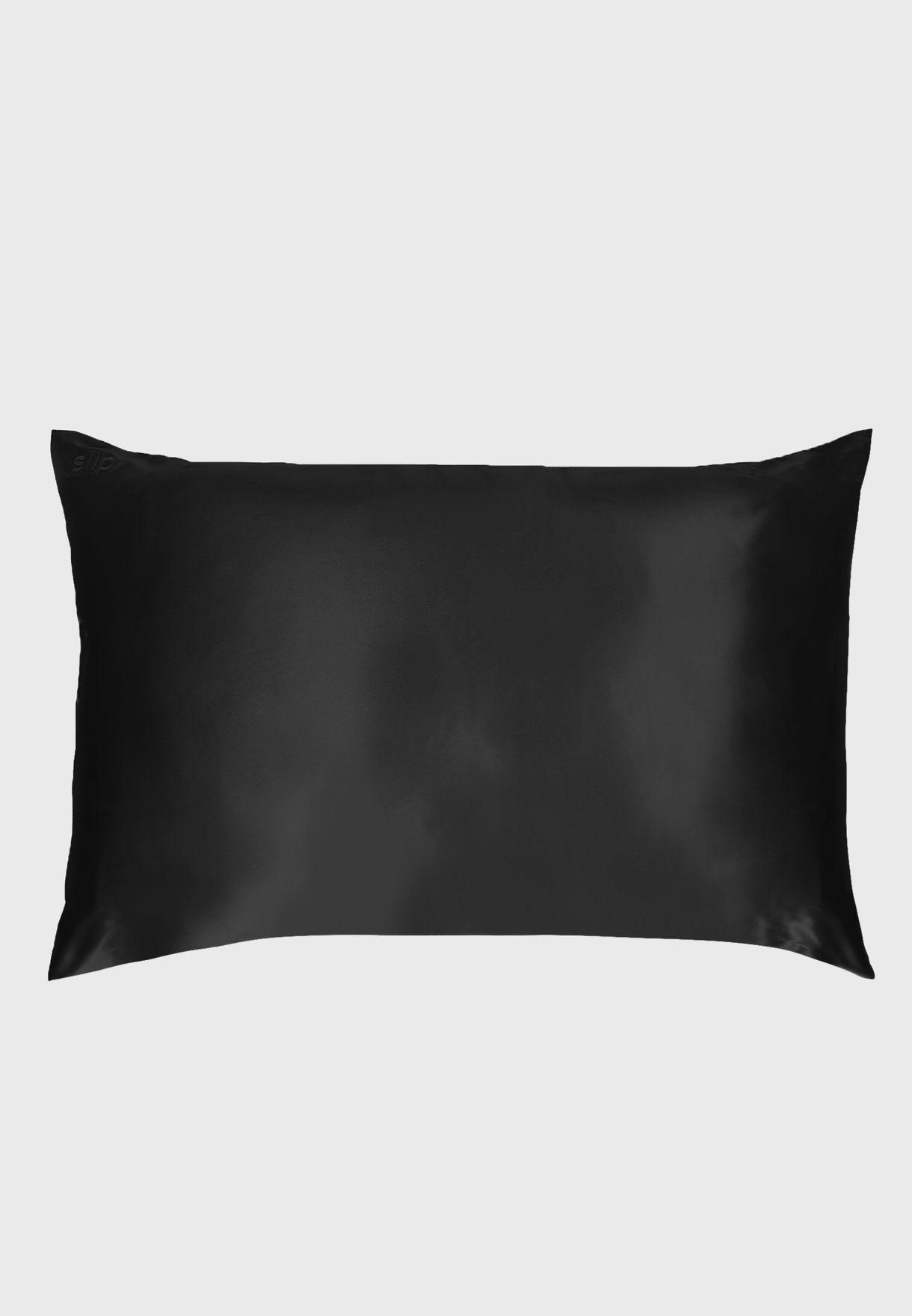 Queen Size Silk Pillow Case - Black