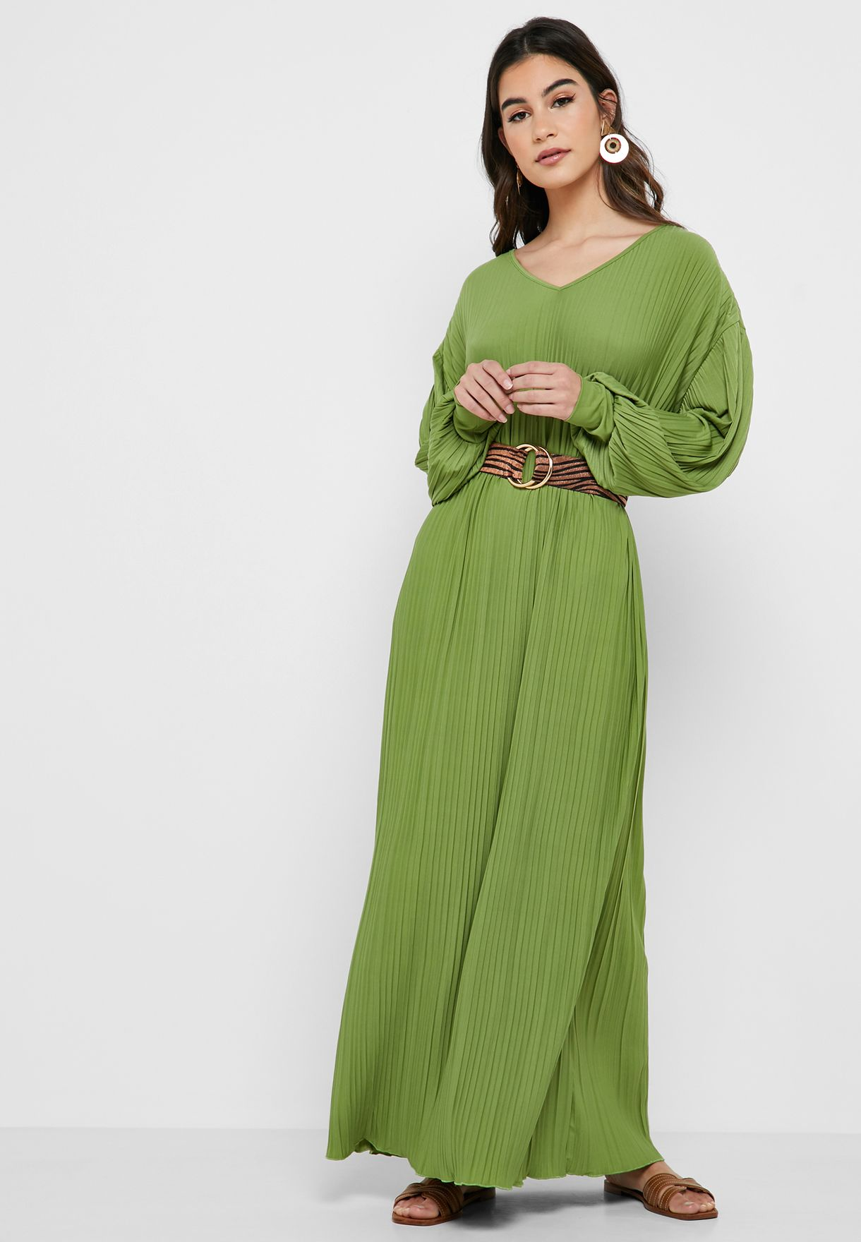 8fa1aa1b52b Shop green Pleated Maxi Dress 1011911015 for Women in Oman ...