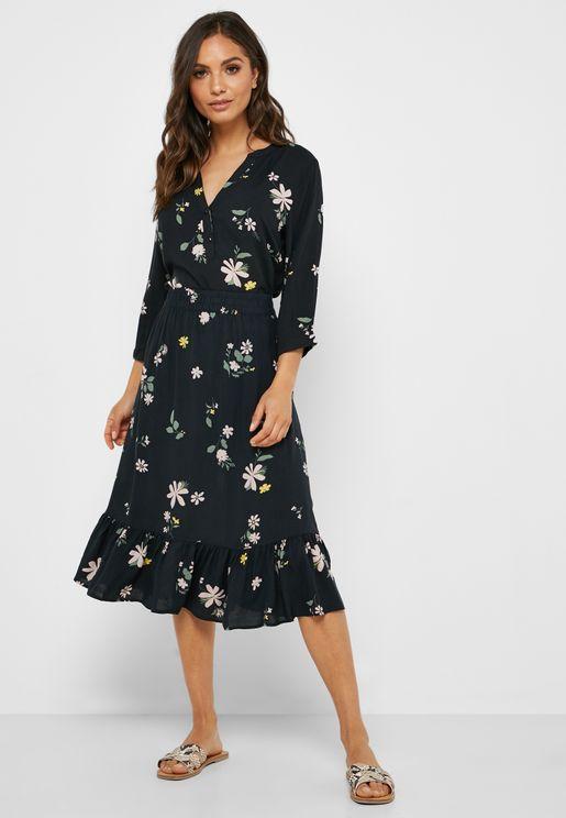 Floral Print Pephem Skirt