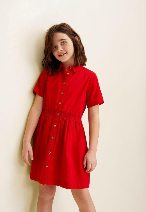 Kids Button Down Shirt Dress