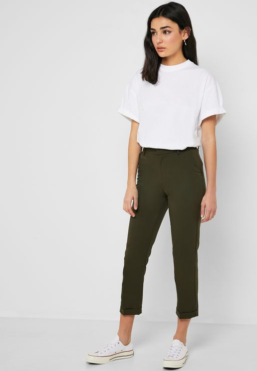 Tapered Cuffed Ankle Pants