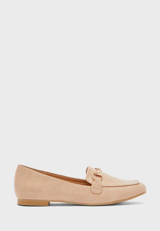 Croc Effect Chain Buckle Loafer
