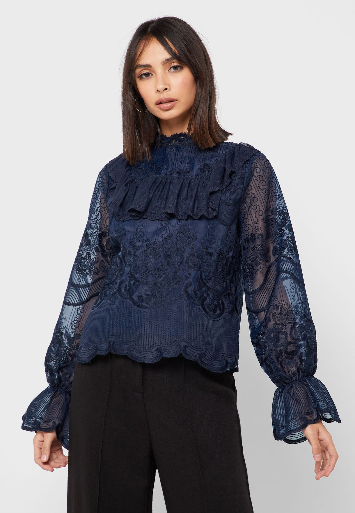 High Neck Flute Sleeve Layered Top