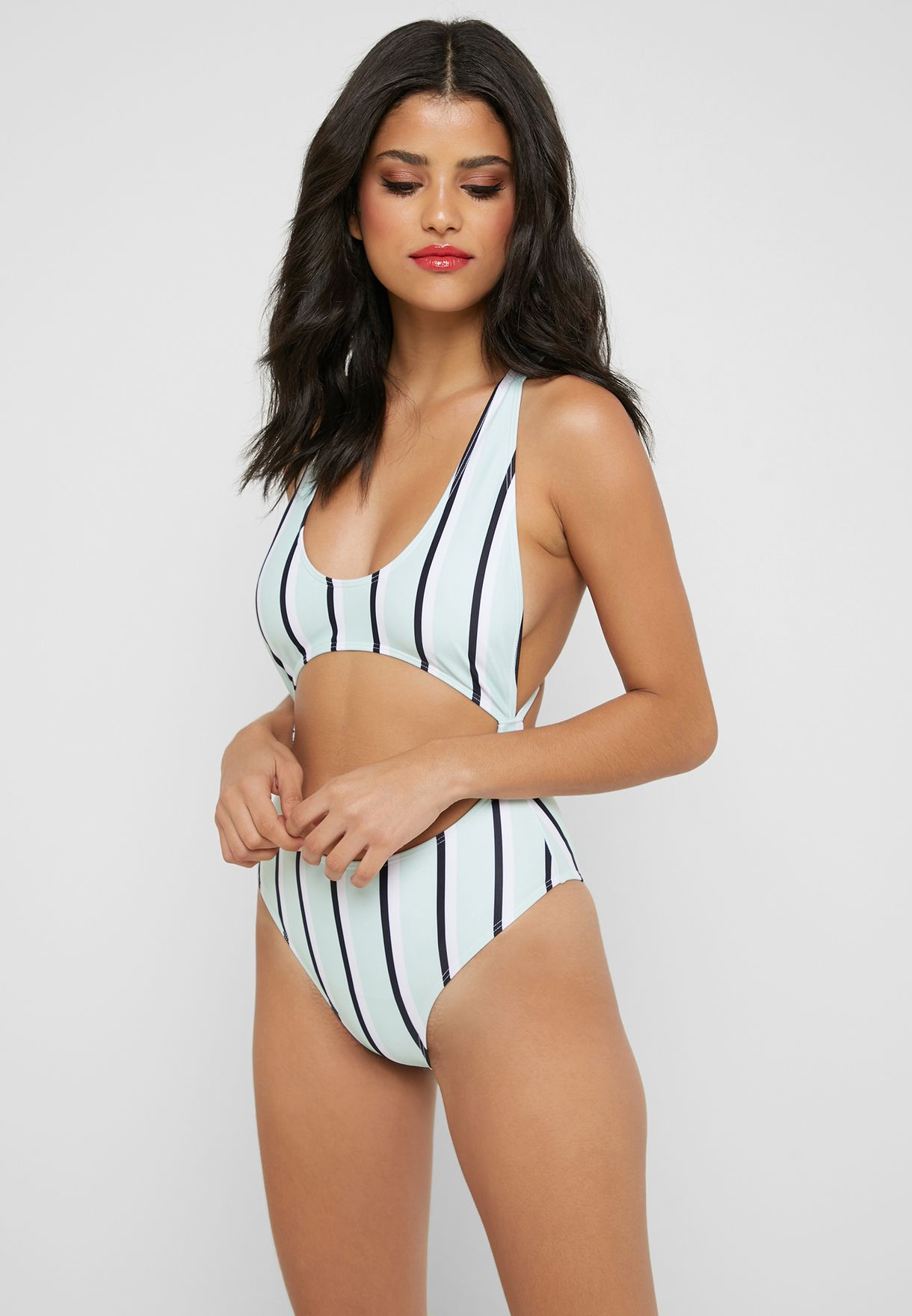 Stripe Cut Out Swimsuit