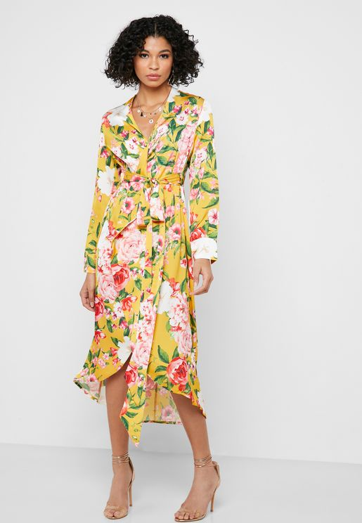 Floral Print High Low Wrap Dress