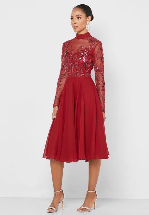 High Neck Embellished Sheer Sleeve Dress