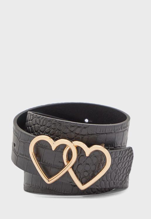 Double Heart Buckle Belt
