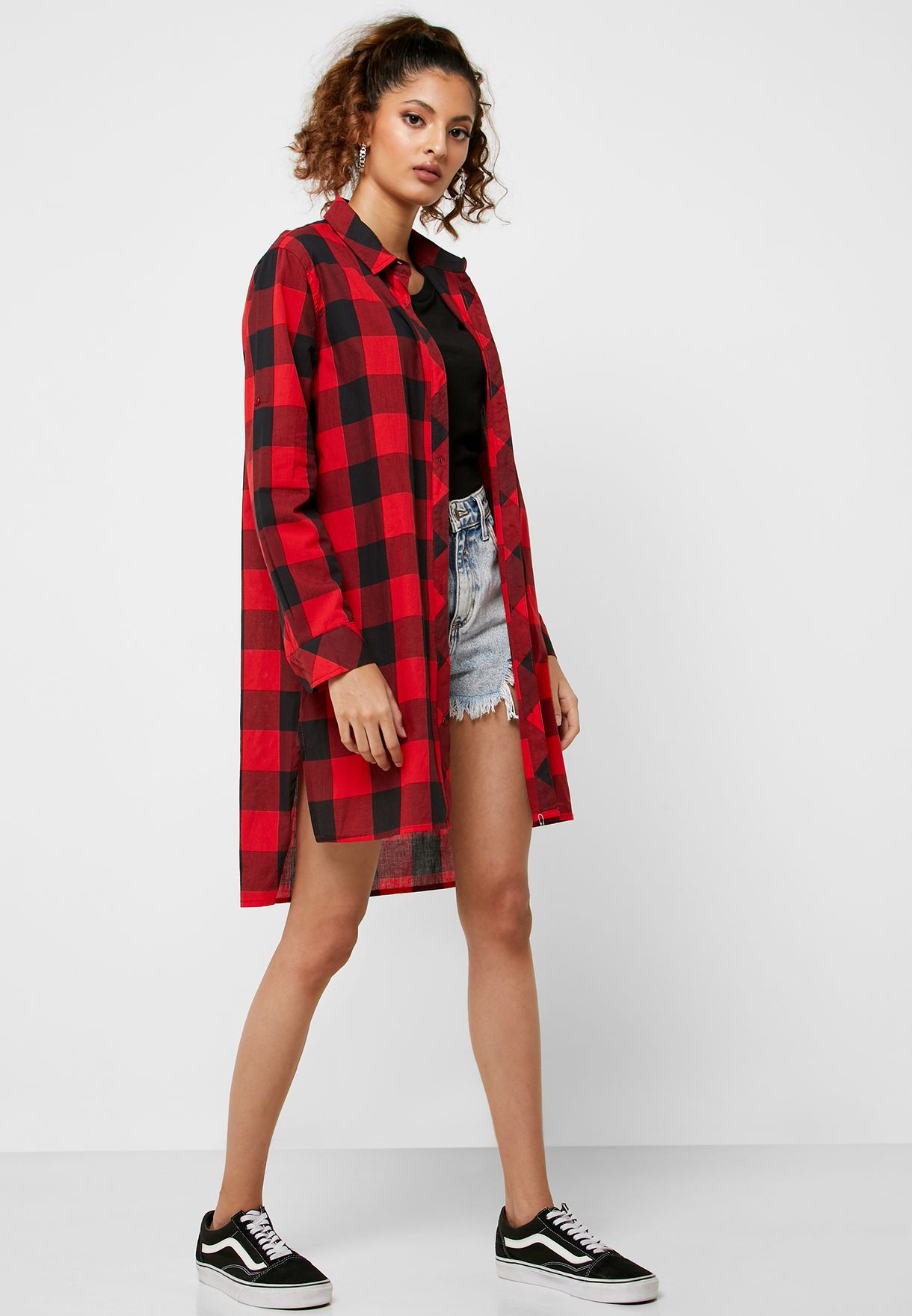 Checked Longline Shirt