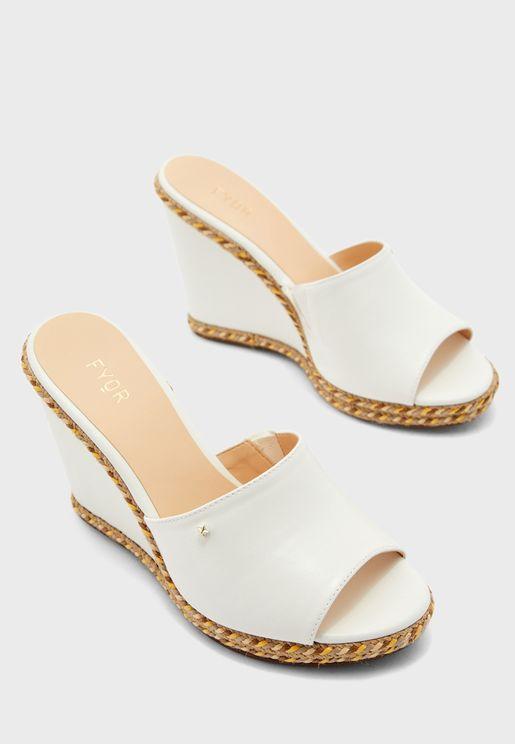 Embellished Mid Heel Wedge Sandals