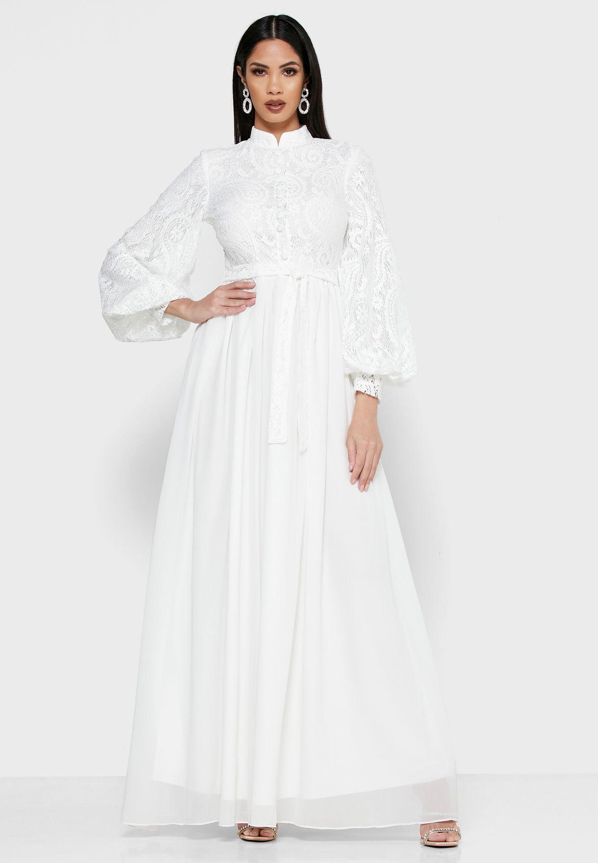 فستان مكسي بأربطة واجزاء دانتيل